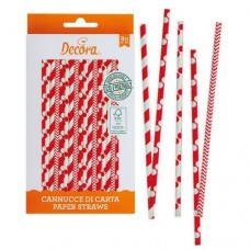Decora Red & White Straws Pk/80
