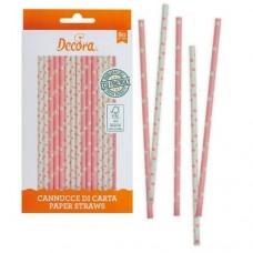 Decora Baby Pink & White Straws Pk/80