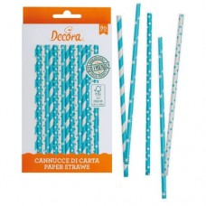 Decora Sky Blue & White Straws Pk/80