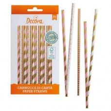Decora Gold, Pink & White Straws Pk/80