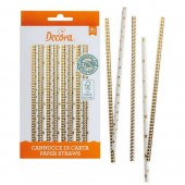 Decora Gold Stars & Stripes Dot Straws Pk/80