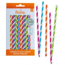Decora Multicoloured Polka Dot Straws Pk/80