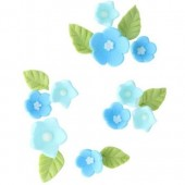 Blue Sugar Flowers & Leaves Pk/16