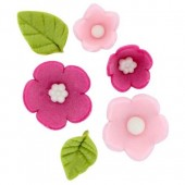 Pink Sugar Flowers & Leaves Pk/16