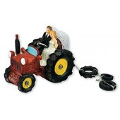 Bride & Groom Red Tractor Cake Topper