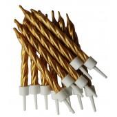 Gold Spiral Candles Pk/12