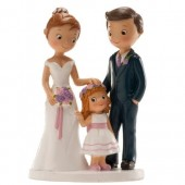 Wedding Couple with Girl Cake Topper