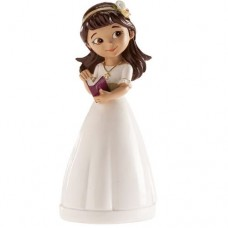 Dekora Dark Hair Communion Girl Topper