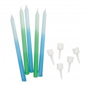 Blue/Green Ombre Candles Pk/12