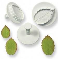PME Ex Lg Veined Rose Leaf Plunger Set/3
